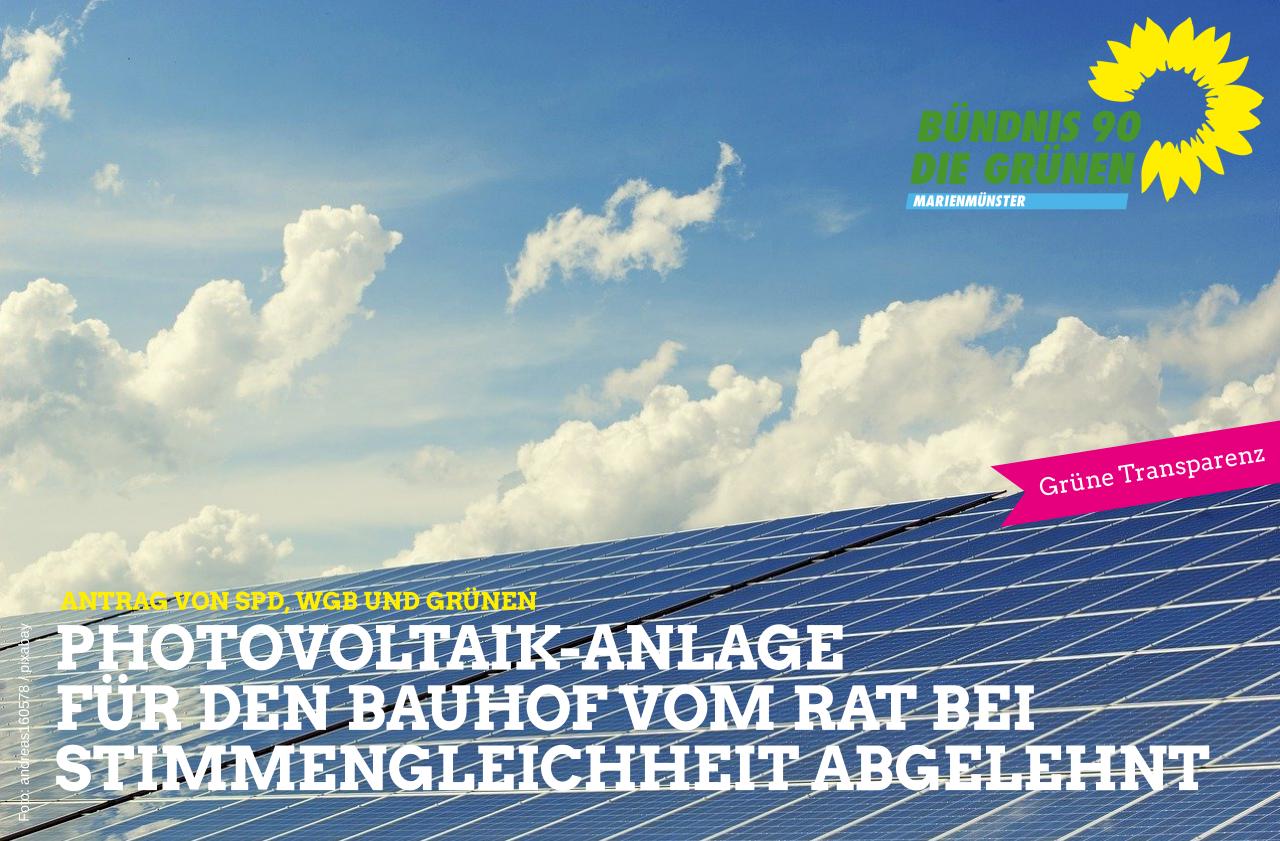 Photovoltaik-Anlage für den Bauhof vom Rat bei Stimmengleichheit abgelehnt