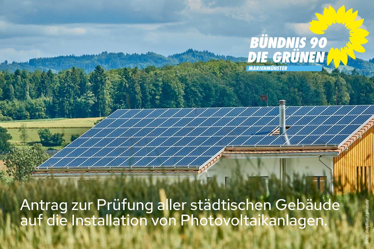 Antrag zur Prüfung aller städtischen Gebäude auf die Installation von Photovoltaik-Anlagen